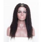 "24"" Kinky Curly Brazilian Virgin Human Hair U Part Wigs"