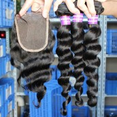 Loose Wave Brazilian Virgin Hair Middle Part Lace Closure with 3pcs Hair Weaves