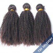 Natural Color Brazilian Virgin Human Hair Afro Kinky Curly Hair Weave 3 Bundles