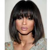 Ciara Inspired 250% Density Straight Short Bob Human Hair Wigs With Bangs For Women
