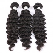 Natural Color Deep Wave Brazilian Virgin Human Hair Weave 3pcs Bundles