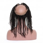 360 Frontal Closure Kinky Curly Natural Hairline Lace Frontal 360 Closure Malaysian Hair