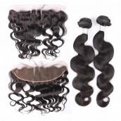 Brazilian Virgin Hair Body Wave Lace Frontal Closure With 3 Pcs Hair Bundles Natural Color
