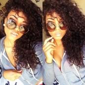 Detangle 100% Brazilian Virgin Human Hair Brazilian Curly Full Lace Wigs Natural Color