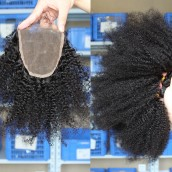 Mongolian Virgin Hair Afro Kinky Curly Free Part Lace Closure with 3pcs Weaves