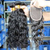 Brazilian Virgin Hair Water Wet Wave Free Part Lace Closure with 3pcs Hair Weaves
