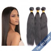 Brazilian Virgin Human Hair Natural Color Yaki Straight Hair Weave 3 Bundles
