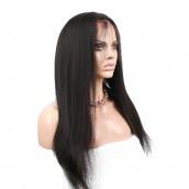 Natural Color Light Yaki Straight Unprocessed Peruvian Virgin Human Hair Full Lace Wigs