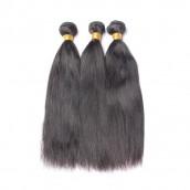 Brazilian Virgin Human Hair Natural Color Yaki Straight Hair Weave 3 Bundles